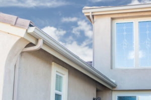 72273432 - house with new seamless aluminum rain gutters.